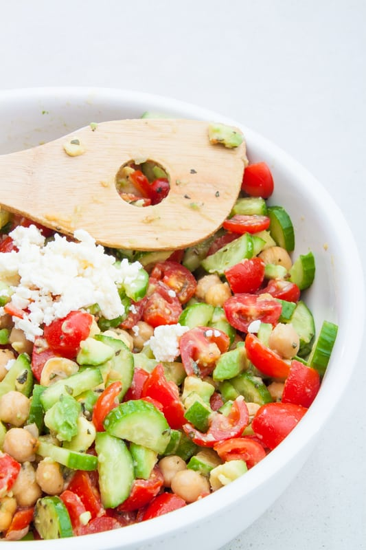 Chickpea, Tomato, and Feta Salad - The Picky Eater